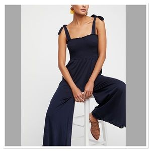 Free People It's Your Fantasy Jumpsuit Navy